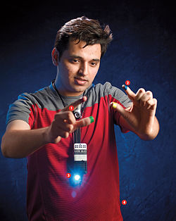 Pranav Mistry (b. 1981 in Palanpur, India) is one of the inventors of SixthSense. He is a research assistant and a PhD candidate at MIT Media Lab.