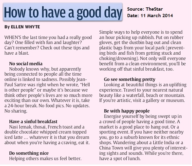 TheStar-2014-March-11-How To Have A Good Day
